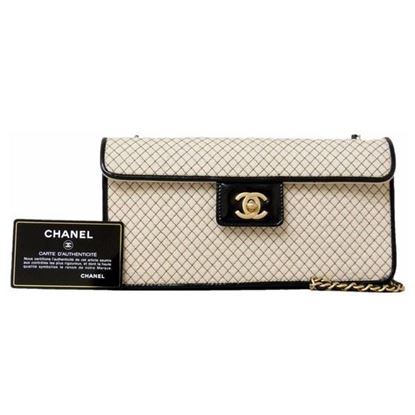 Image of Special piece: Chanel bicolor cotton/patent leather chain bag
