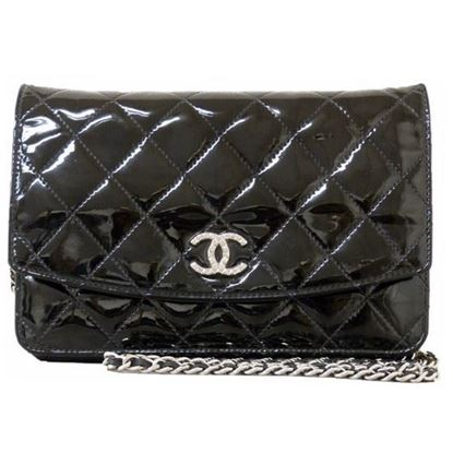 Image of Chanel patent black leather crossbody WOC