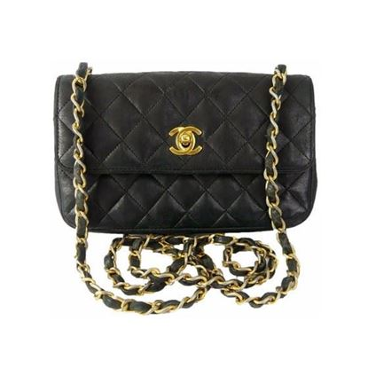 Image of Chanel timeless 2.55 mini rectangular in black lambskin with gold hardware