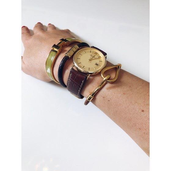 Picture of HERMES jumbo gold hook bracelet brown leather