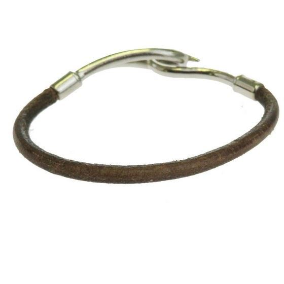 Picture of HERMES jumbo silver hook bracelet brown leather