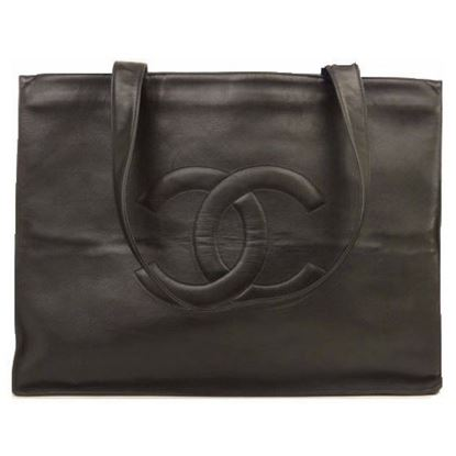 Image of CHANEL Black Lambskin Leather  Grand Shoulder Shopper Tote Bag