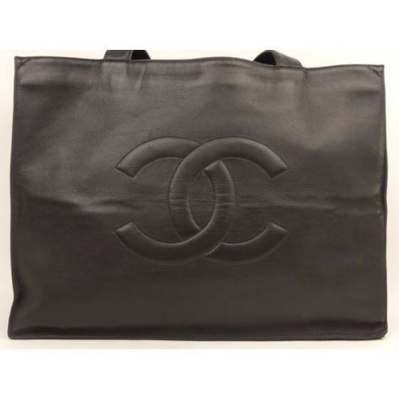 Picture of CHANEL Black Lambskin Leather  Grand Shoulder Shopper Tote Bag