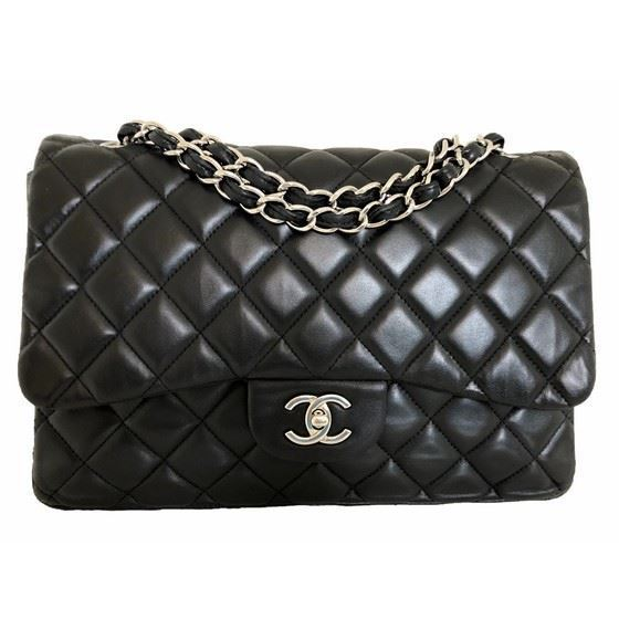 Picture of Chanel jumbo timeless 2.55 black flap bag with silver hardware