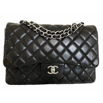 Image of Chanel jumbo timeless 2.55 black flap bag with silver hardware