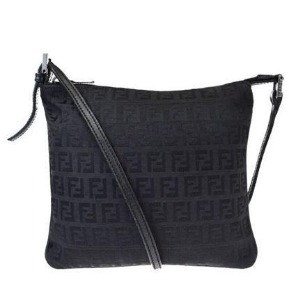 Image of Fendi logo canvas leather crossbody bag
