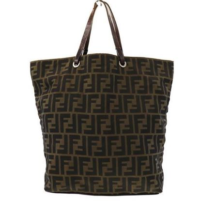 Image of Fendi logo canvas leather tote/shopper bag
