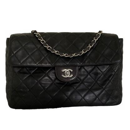 Image of Chanel 2.55 classic timeless jumbo crossbody bag with silver hardware