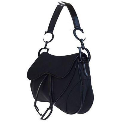 Image of Christian Dior medium double saddle bag, all black