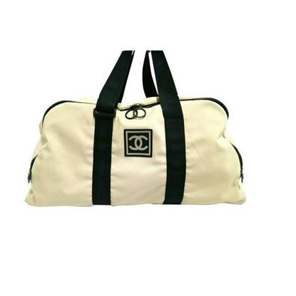 Image of CHANEL Sport Line Ivory Black  boston travel bag