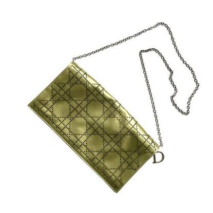 Image of CHRISTIAN DIOR green cannage satin clutch bag