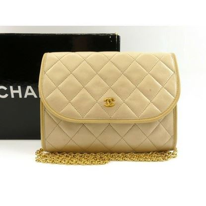 Image of Chanel 2.55 classic timeless beige mini flap bag