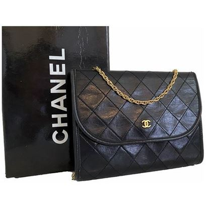 Image of Chanel 2.55 classic timeless black mini flap bag